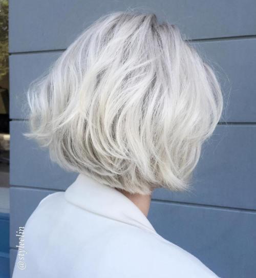 Tousled Ash Blonde Bob Hairstyle