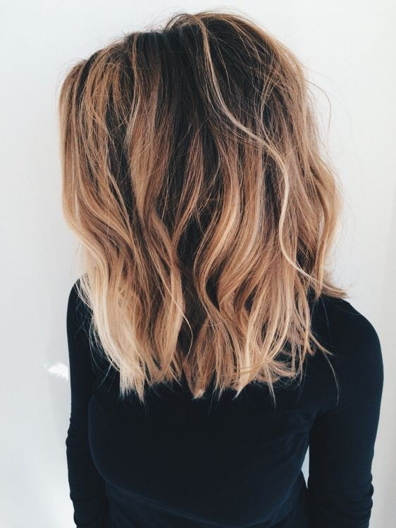 Blunt Long Lob Hair Cut for Thick Hair Ombre Balayage Hairstyles
