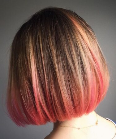Straight Short Bob Hairstyle Balayage Pink ends