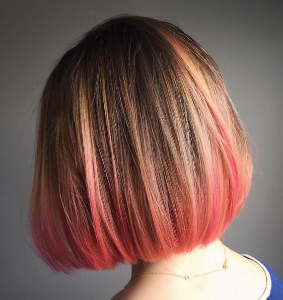 Straight Short Bob Hairstyle Balayage Pink ends